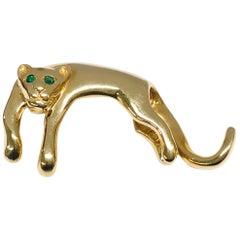 14 Karat Emerald Panther Slide Pendant
