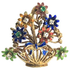 14 Karat Enamel Flower Basket Brooch with Diamonds Rubies
