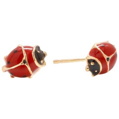 Fourteen Karats Yellow Gold Enamel Lady Bug Stud Earrings Measuring 0.30 Inch