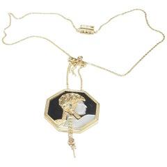 14 Karat Erte Necklace Aventurine Diamond Onyx Art Deco, 1979