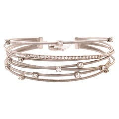 14 Karat Flexible Diamond Wire Bangle White Gold