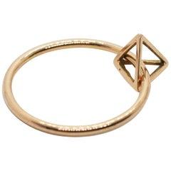 14 Karat Floating Tetrahedron Pyramid Ring