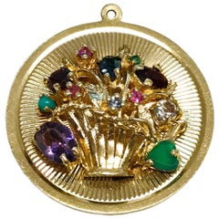 14 Karat Flower Basket Multi-Stone Medallion Pendant