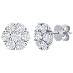 14 Karat Flower Shaped Diamond Earrings 3.50 Carat