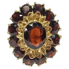 14 Karat Garnet Cluster Ring