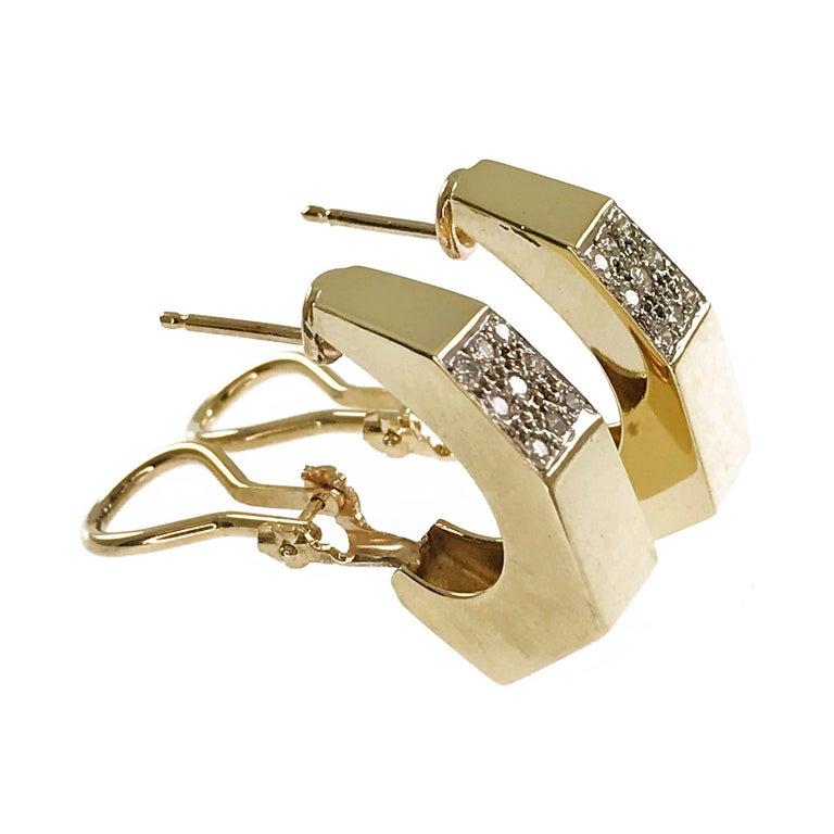 Retro 14 Karat Geometric Hoop Diamonds Earrings For Sale