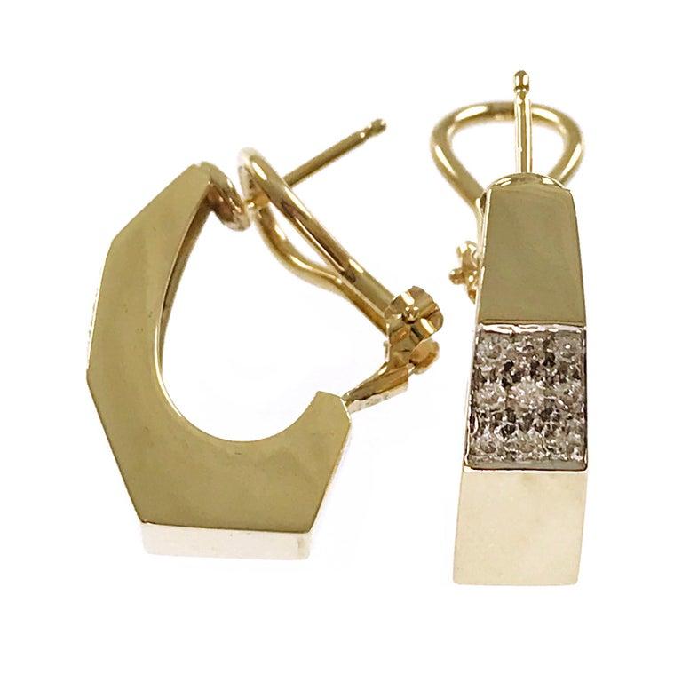 Round Cut 14 Karat Geometric Hoop Diamonds Earrings For Sale