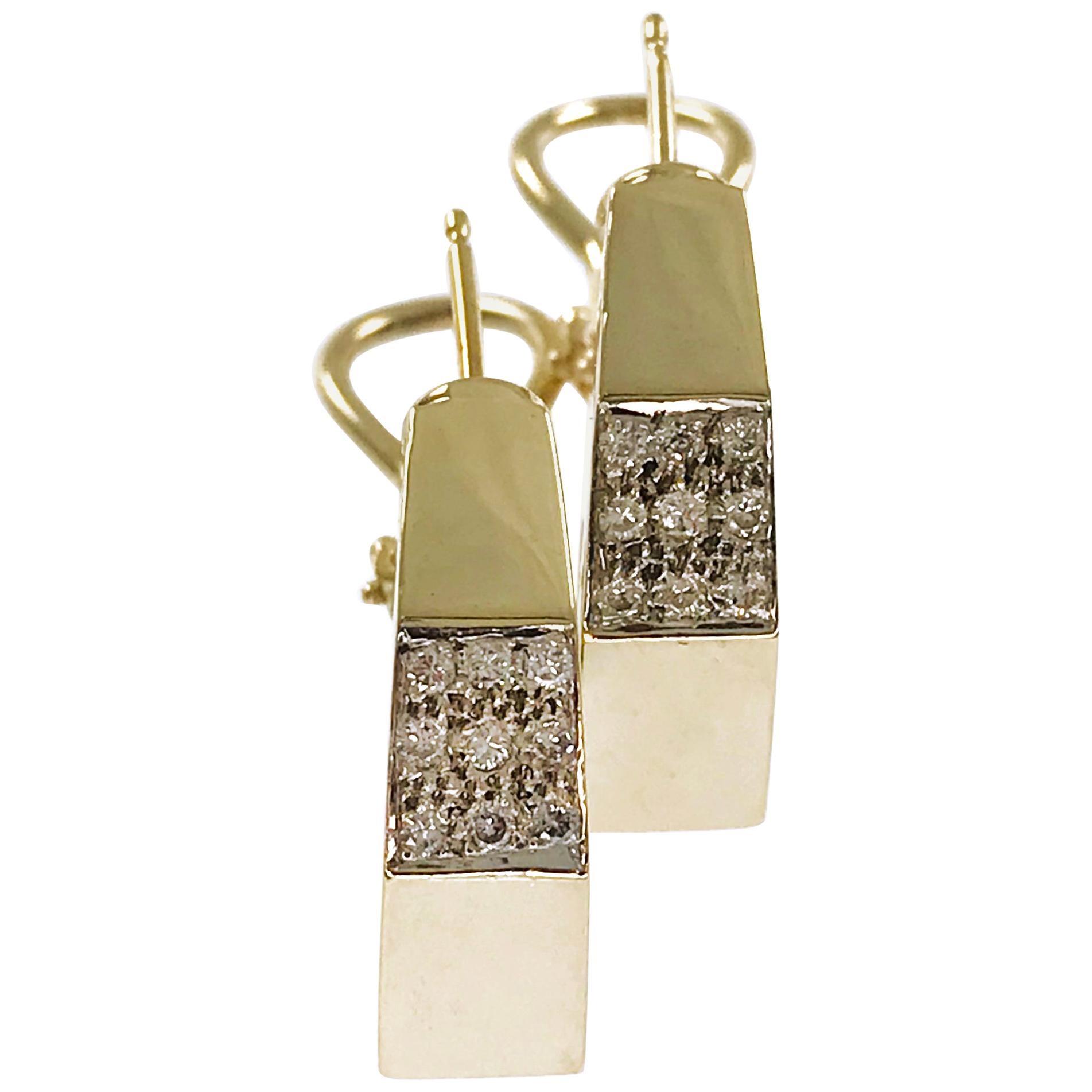 14 Karat Geometric Hoop Diamonds Earrings