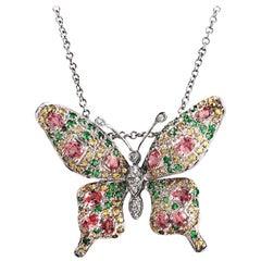 14 Karat Gold .09 Carat Diamonds 2.45 Carat Multi Stones Butterfly Necklace