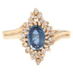 14 Karat Gold, 1 Carat Sapphire and .30 Carat Diamond Navette Statement Ring