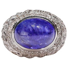 14 Karat White Gold 14 Carat Tanzanite 1.3 Ct Diamond Round Dome Cocktail Ring