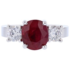 14 Karat Gold 2.73 Carat Certified Oval Cut Ruby and Diamond Ring