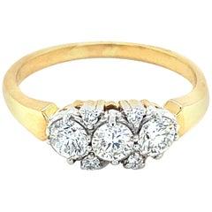 14 Karat Gold .75 Carat Diamond Three-Stone Band