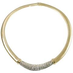 14 Karat Gold Omega Diamond Necklace