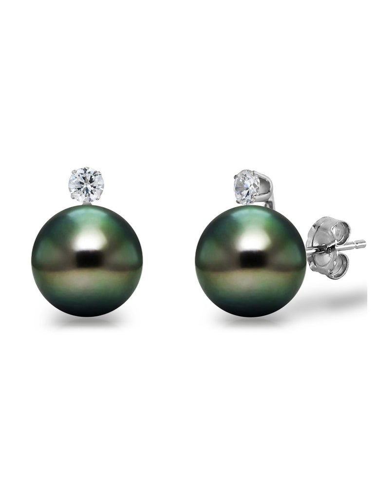 14 Karat Gold AAA Tahitian Cultured Pearls with 1/10 Carat Diamond Stud Earrings  Elegance and simplicity meet in this gorgeous earrings with sparkling diamonds These diamond pearl earrings are a gift everyone will enjoy. A feminine piece of jewelry