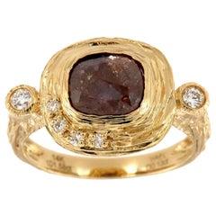 14 Karat Gold Alpinia Salt and Pepper Diamond Organic Ring 'Center, 1.58 Carat'