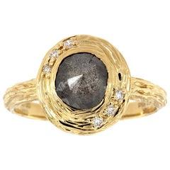 14 Karat Gold Alpinia Salt and Pepper Diamond Organic Ring 'Center-1.65 Carat'