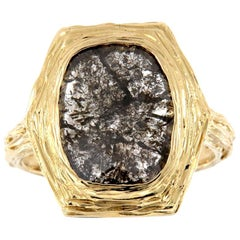 14 Karat Gold Alpinia Salt and Pepper Diamond Organic Ring 'Center- 1.94 Carat'