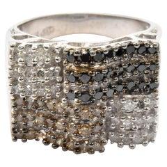 14 Karat Gold American Flag Cognac, Black and White 1.44 Carat Diamond Ring