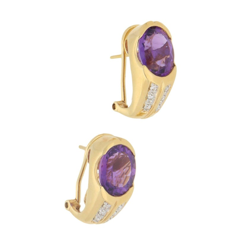 14 Karat Gold Amethyst Diamond Hoop Earrings