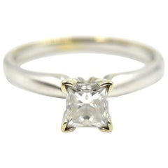14 Karat Gold and 0.63 Carat Princess-Cut Diamond Solitaire Engagement Ring