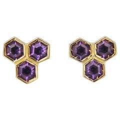 14 Karat Gold and Amethyst, Honeycomb Form Stud Earrings