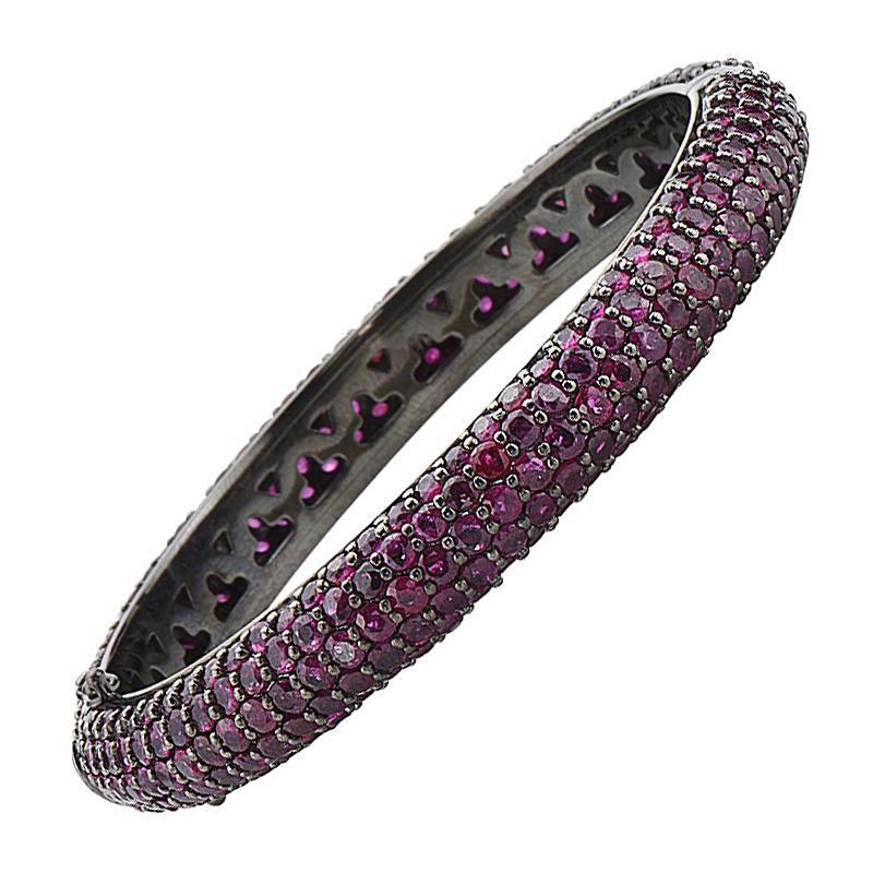 14 Karat Gold and Black Rhodium Ruby Bangle Bracelet