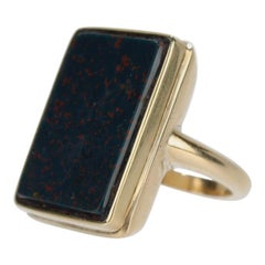 14 Karat Gold and Bloodstone Signet Ring