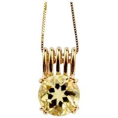 14 Karat Gold and Citrine Pendant Necklace