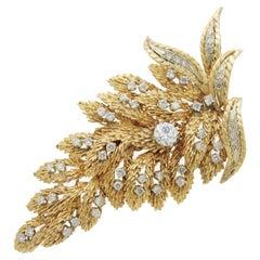 14 Karat Gold and Diamond Fern Brooch Pin