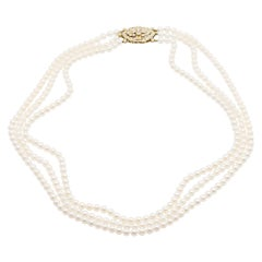14 Karat Gold and Diamond Three Strand Freshwater Pearl Necklace