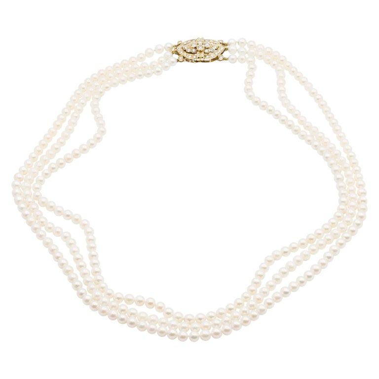 14 Karat Gold and Diamond Three Strand Freshwater Pearl Necklace For Sale