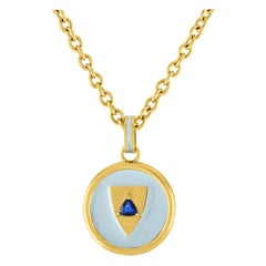14 Karat Gold and Enamel Shield Fob with Sapphire Trillion