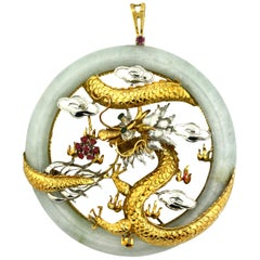 14 Karat Gold and Jade Pendant