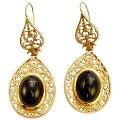 14 Karat Gold and Oval Cabochon Cut Garnet Dangle Earrings Edwardian Style