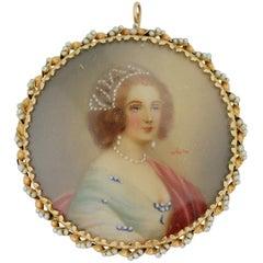 "14 Karat Gold and Pearl ""Portrait"" Brooch"