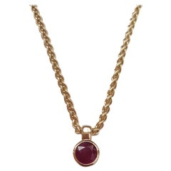 14 Karat Gold and Ruby Necklace, Wheat Link Chain, Approximate 2.50 Carat Ruby