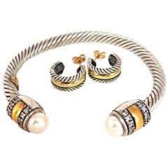 14 Karat Gold and Silver Bangle / Earrings Suite
