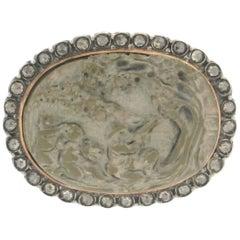 14 Karat Gold and Silver Diamonds Lava Cameo Brooch