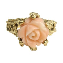 14 Karat Gold Angel Coral Ring Rose Flower Ring