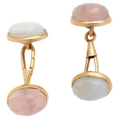 14 Karat Gold Antique Carved Scarab Opal and Rose Quartz Double-Sided Cufflinks