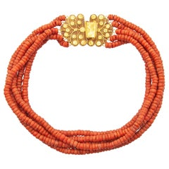 Victorian 14 Karat Gold Red Coral Necklace