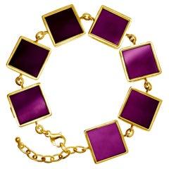 14 Karat Gold Art Deco Bracelet with Amethysts, Featured in Vogue