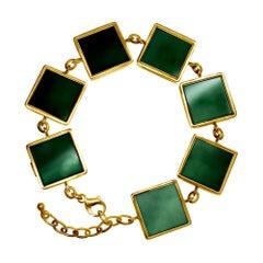 14 Karat Gold Art Deco Bracelet with Dark Green Quartzes, Featured in Vogue