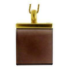 14 Karat Gold Art Deco Pendant Necklace with Smoky Quartz, Featured in Vogue UA
