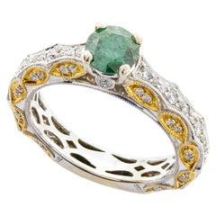 14 Karat Gold Art Deco Style Diamond and Emerald Ring