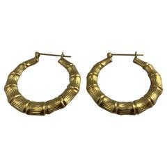 14 Karat Gold Bamboo Design Shrimp Earrings