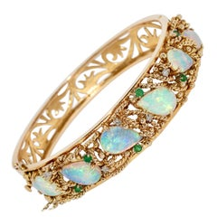 14 Karat Gold Bangle, Bracelet, with Opals, Diamonds and Emeralds