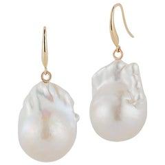 14 Karat Gold Baroque Pearl Drops