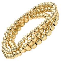 14 Karat Gold Bead Bracelet Stack